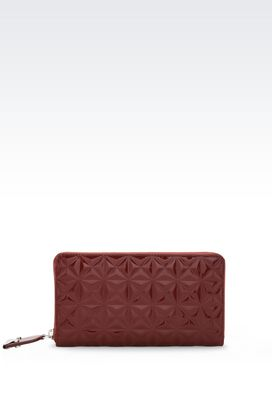 Armani Wallets Women zip around wallet in quilted patent leather
