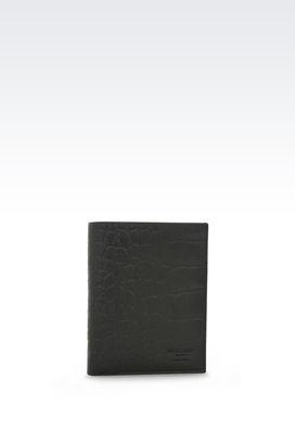 Armani Passport holders Men passport holder in croc print calfskin