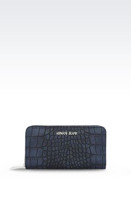 Armani Wallets Women zip-around wallet in croc print