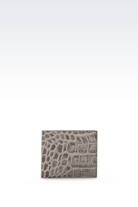 Armani Wallets Men wallet in croc print calfskin