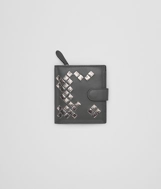 MINI WALLET IN NEW LIGHT GRAY ARGENTO NAPPA WITH INTRECCIATO DETAILS