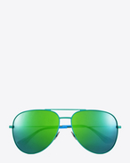 classic sl 11 surf aviator sunglasses in shiny green and blue steel with green mirrored lenses