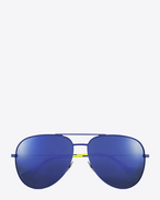 classic sl 11 surf aviator sunglasses in shiny blue and yellow steel with blue mirrored lenses