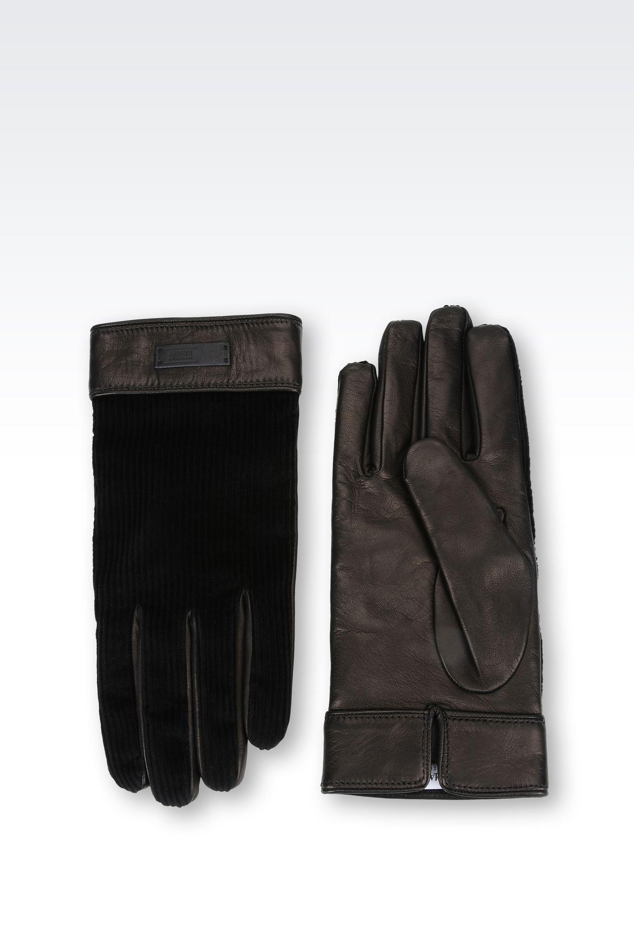 Mens velvet gloves - Gloves In Napa Leather And Velvet Gloves Men By Armani 0