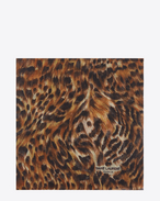ANIMALIER Large Square Scarf in Camel and Black Leopard Printed Cashmere and Silk Étamine