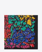 ジオメトリ ラージスクエアスカーフ(ブラック&マルチカラー / 80年代グラフィティプリント ウールエタミン)