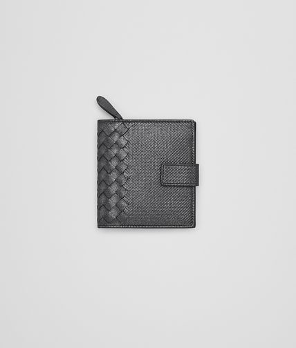 MINI WALLET IN ARDOISE INTRECCATO MOONDUST NAPPA
