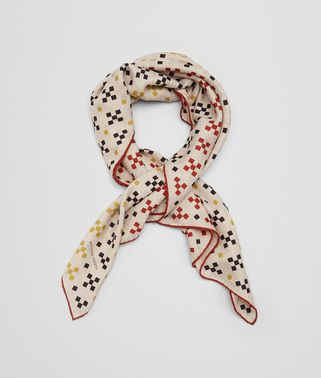 SCARF IN CREAM ORANGE CASHMERE SILK