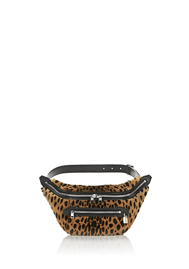 ALEXANDER WANG SMALL LEATHER GOODS Women PADLOCK FANNYPACK IN CHEETAH PRINTED SHEARLING