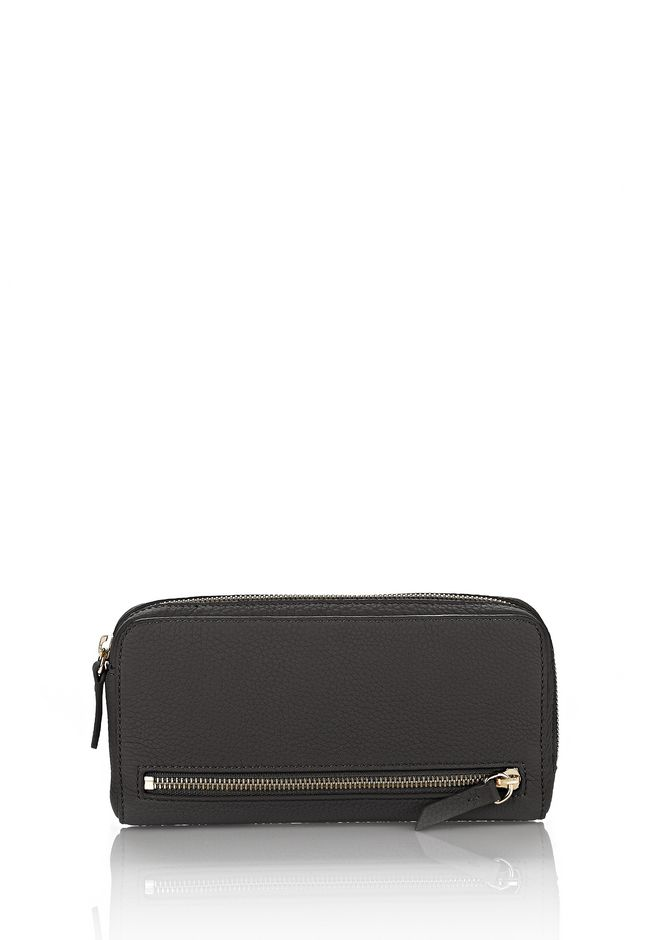 ALEXANDER WANG accessories FUMO CONTINENTAL WALLET IN PEBBLED BLACK WITH PALE GOLD