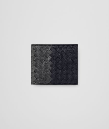 WALLET IN DARK NAVY ARDOISE NEW LIGHT GREY INTRECCIATO CLUB LAMB LEATHER