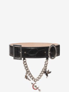 Embossed Leather Charm Belt