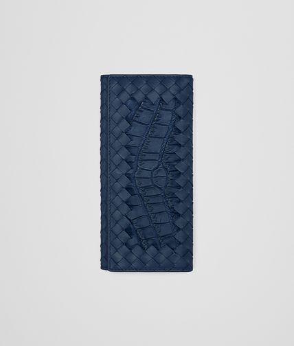 CONTINENTAL WALLET IN PACIFIC CROCODILE AND INTRECCIATO NAPPA LEATHER