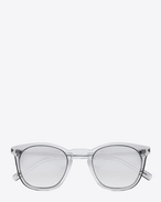 Classic 28 Sunglasses in Clear Acetate with Light Silver Mirrored Lenses