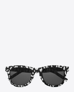 Classic 51 Sunglasses in Shiny Black and White Baby Cat Printed Acetate with Grey Lenses