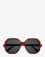 new wave 4 sunglasses in shiny red glitter and black acetate with grey lenses