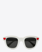 new wave lolita sunglasses in shiny ivory acetate and red crystal with smoke lenses