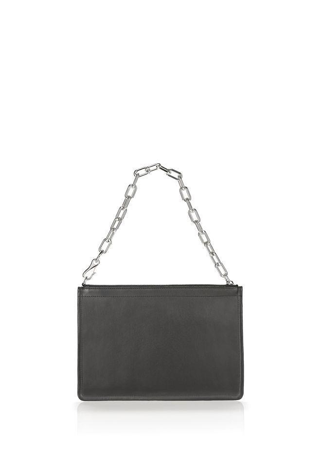 ALEXANDER WANG new-arrivals-bags-woman LARGE ATTICA CHAIN FLAT POUCH IN BLACK WITH RHODIUM