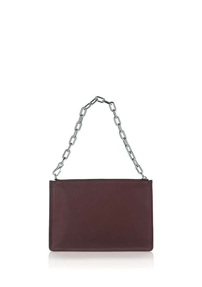 ALEXANDER WANG new-arrivals-bags-woman LARGE ATTICA CHAIN FLAT POUCH IN BEET WITH RHODIUM
