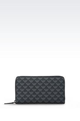 Armani Wallets Men zip around wallet in logo patterned pvc