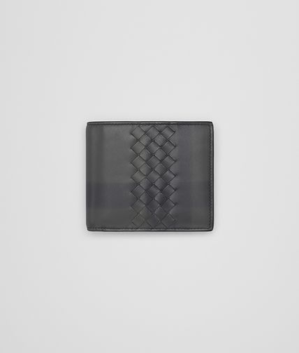WALLET IN NEW LIGHT GREY INTRECCIATO CALF WITH TARTAN DETAILS