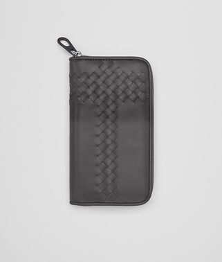 ZIP AROUND WALLET IN NEW LIGHT GREY INTRECCIATO CALF WITH TARTAN DETAILS