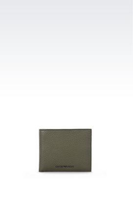 Armani Wallets Men bi-fold wallet in grained calfskin