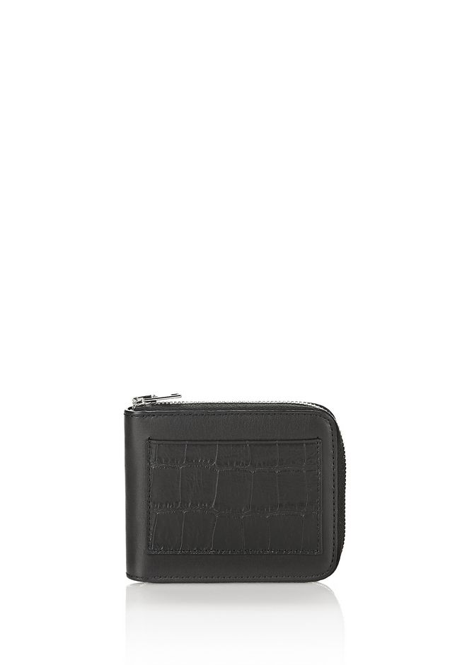 ALEXANDER WANG accessories ZIPPED BI-FOLD WALLET IN BLACK WITH EMBOSSED CROC DETAIL
