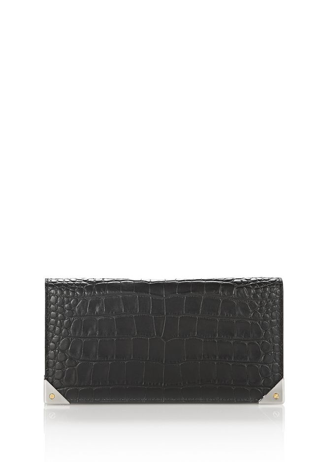 ALEXANDER WANG Wallets Women EXCLUSIVE CROC EMBOSSED PRISMA LONG COMPACT