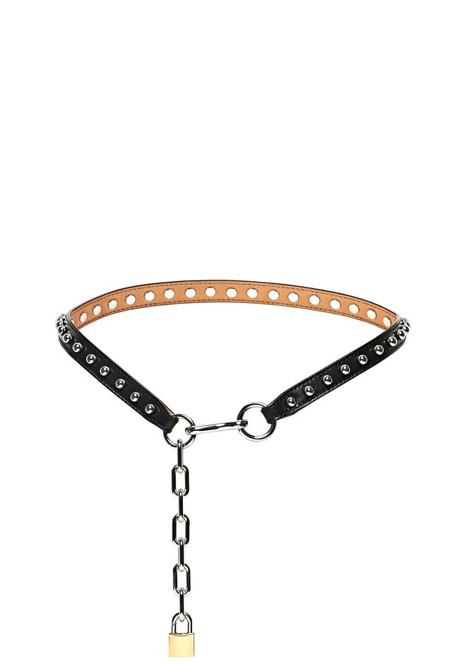 ALEXANDER WANG accessories BALL STUDDED SKINNY BELT IN BLACK