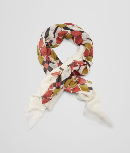 SCARF IN IVORY RED CASHMERE SILK