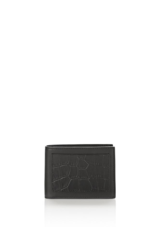ALEXANDER WANG accessories CROC EMBOSSED BI-FOLD WALLET IN BLACK