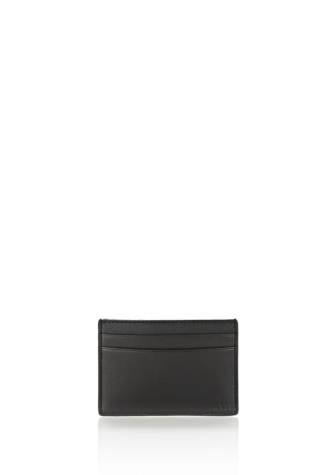 ALEXANDER WANG accessories CROC EMBOSSED CARDHOLDER IN BLACK