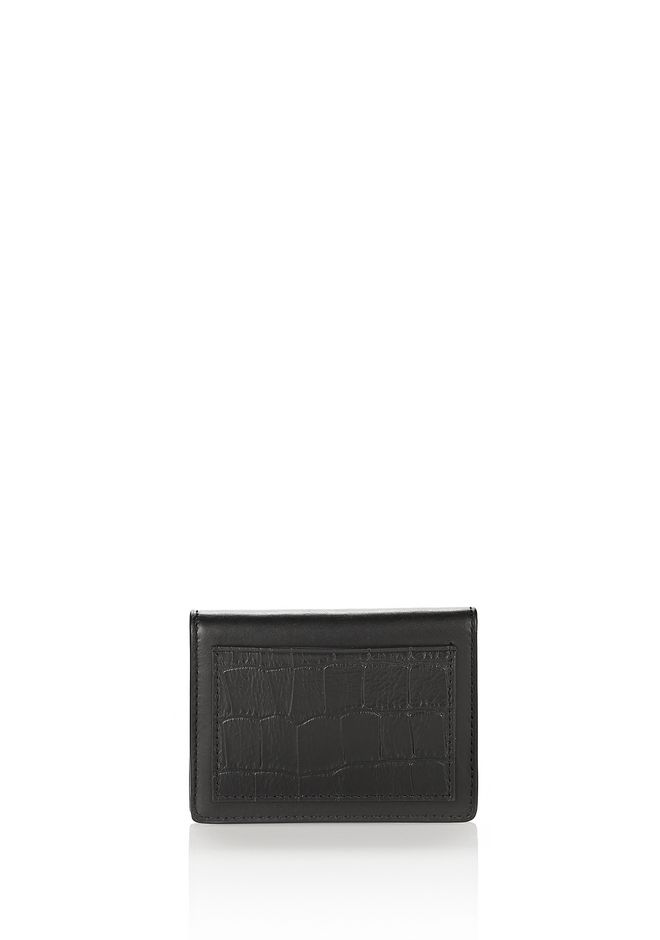 ALEXANDER WANG accessories E-W CROC EMBOSSED CARDHOLDER IN BLACK