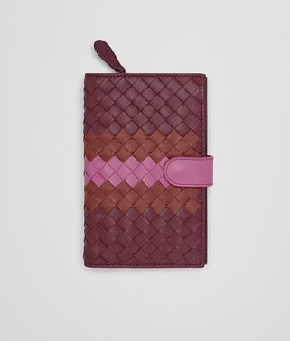 CONTINENTAL WALLET IN BAROLO BRICK PEONY INTRECCIATO NAPPA CLUB LEATHER