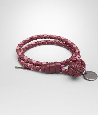 BRACELET IN BAROLO BRICK PEONY INTRECCIATO NAPPA CLUB LEATHER