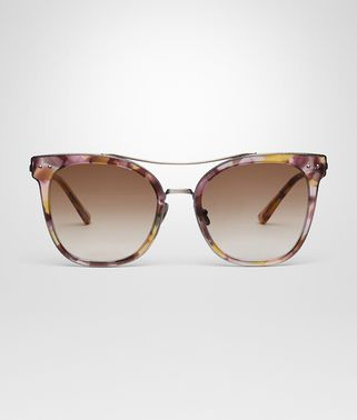 SUNGLASSES IN HAVANA ACETATE SILVER METAL WITH BROWN LENS