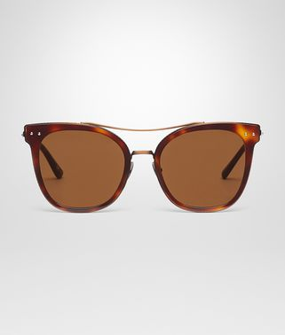 SUNGLASSES IN HAVANA ACETATE BRONZE METAL WITH BROWN LENS