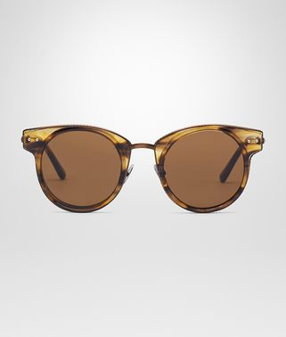 SUNGLESSES IN BROWN ACETATE AND BRONZE METAL WITH BROWN LENS