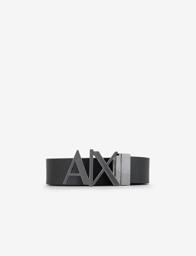 아르마니 익스체인지 리버시블 로고 벨트 블랙 Armani Exchange REVERSIBLE CUTOUT LOGO BELT,Black