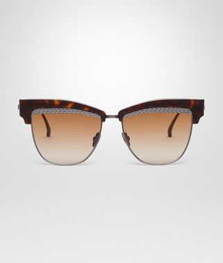 SUNGLASSES IN HAVANA ACETATE RUTENIUM METAL WITH BROWN LENS