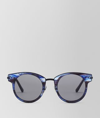 SUNGLASSES IN BLUE ACETATE AND BLACK METAL WITH GREY LENS