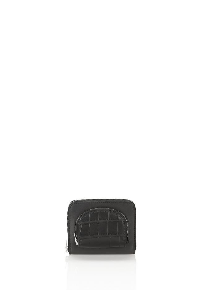 ALEXANDER WANG accessories COMPACT ZIP WALLET IN BLACK WITH CROC EMBOSSED COIN POUCH