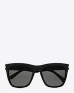 new wave SL 137 devon sunglasses in shiny black acetate with grey lenses