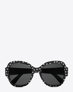 new wave 133 sunglasses in shiny  silver glitter hearts and shiny black acetate with grey lenses