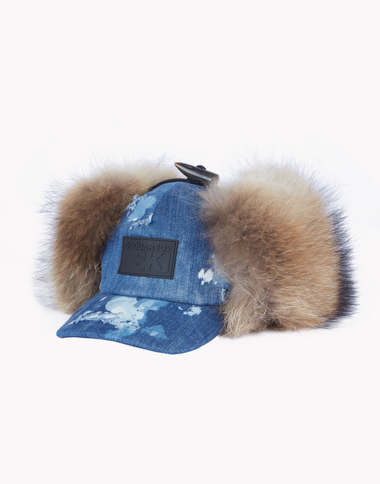 denim fur earmuff ski cap other accessories Man Dsquared2
