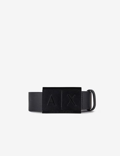 아르마니 익스체인지 로고 벨트 블랙 Armani Exchange INLAY LOGO BELT,BLACK