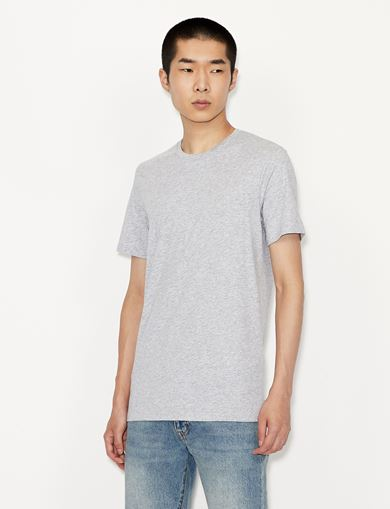아르마니 익스체인지 Armani Exchange CREW NECK PIMA COTTON T-SHIRT,Light Grey