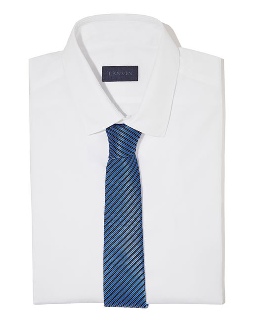 lanvin navy blue stripe tie men