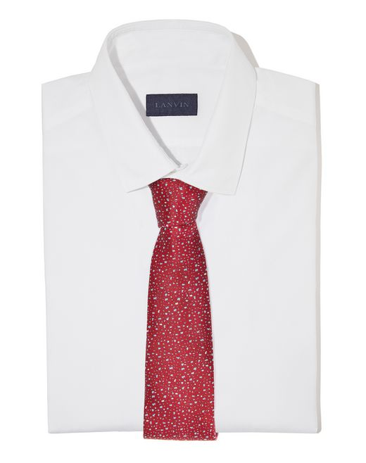 lanvin red hail pattern tie men